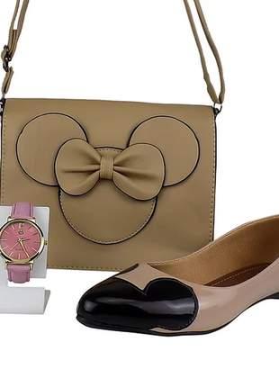 Kit sapatilha e bolsa da minnie + relógio casual
