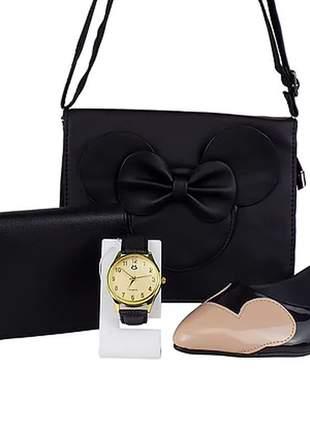 Kit sapatilha e bolsa da minnie + relógio e carteira
