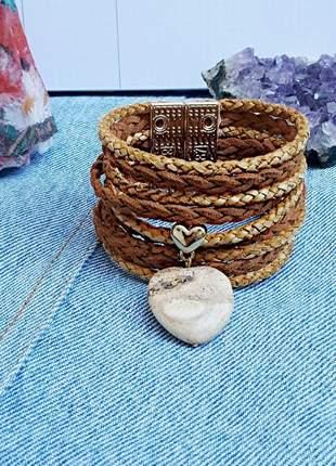 Pulseira de couro com pingente de pedra natural de jaspe madeira