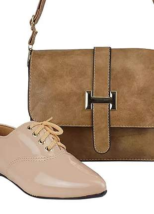 Kit sapato oxford bico fino + bolsa luxo