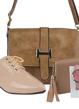 Kit sapato oxford bico fino + bolsa + relógio + carteira luxo