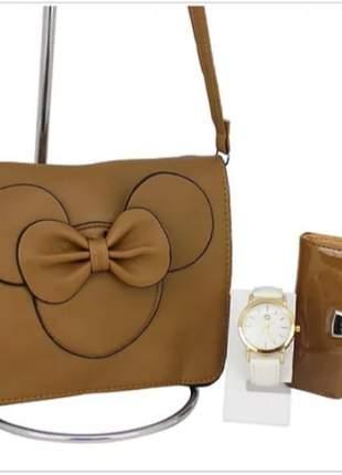 Kit bolsa da minnie + carteira + relógio casual