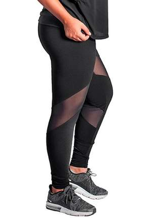 Calça legging com transparência na perna