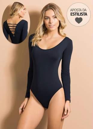 Body manga longa com detalhe nas costas