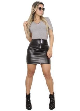 Mini saia dress code moda zíper preta