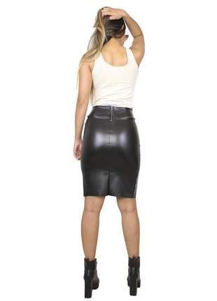 Saia lápis dress code moda fenda preta