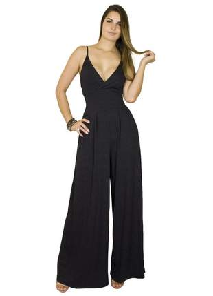 Macacão dress code moda pantalona preto