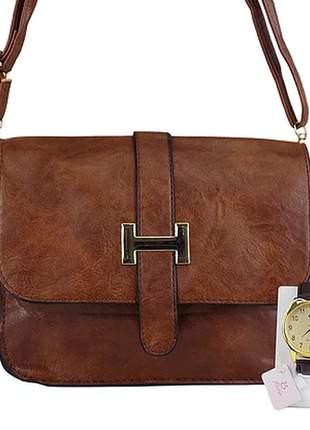 Kit bolsa + relógio luxo