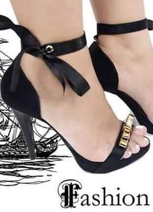 Sandálias femininas 10 cm cetim