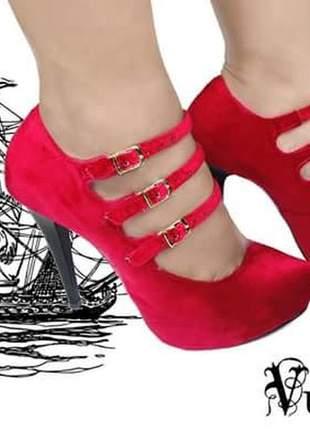 Sapatos scarpins femininos veludo vermelho