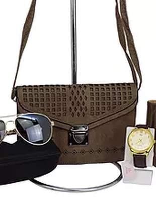 Kit bolsa + carteira + relógio + óculos casual