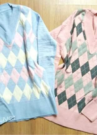 Blusa de frio em tricot escocesa