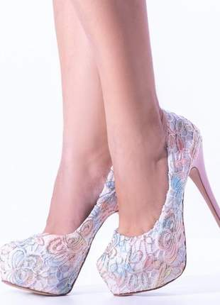 Sapato feminino meia pata salto alto festa