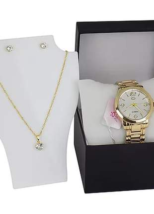 Kit relógio + colar + par de brincos + caixinha/almofada