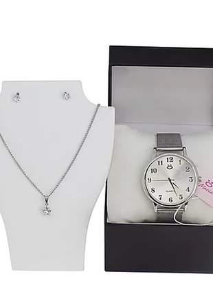 Kit relógio + colar + par de bricos + caixinha/almofada