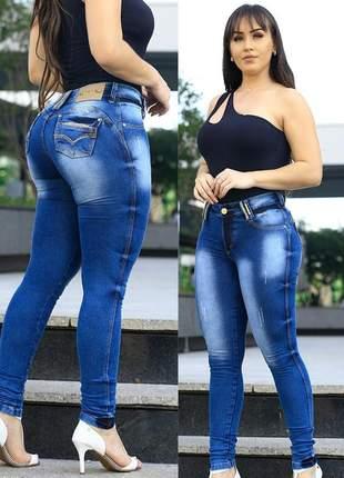 Calça jeans levanta bumbum cintura média azul claro tamanho 36 / 38 / 40 / 42 / 44