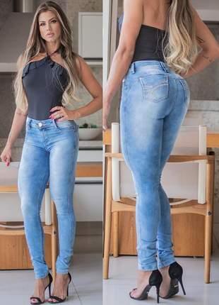 Calça jeans feminina skinny empina bumbum azul claro tamanho 42