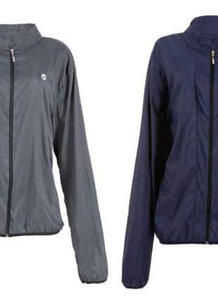 Jaqueta corta vento fitness fashion, cinza e azul.