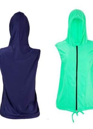 Colete cloque fitness fashion, branco, azul e verde.