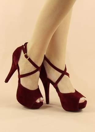 Sandália meia pata salto agulha marsala