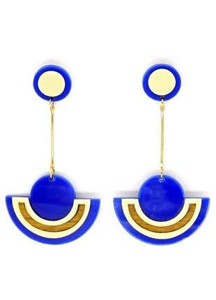 Brinco infinity fashion meia lua azul