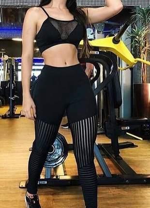 Conjunto feminino fitness top e calça legging