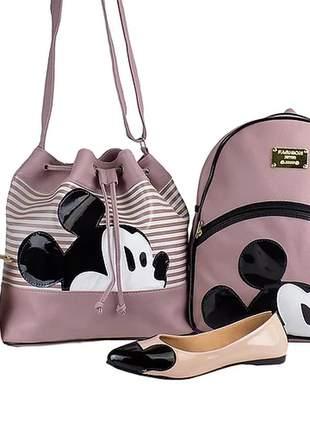 Kit sapatilha + bolsa saco + mochila da minnie + carteira