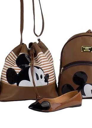 Kit sapatilha + bolsa saco + mochila da minnie + carteira luxo