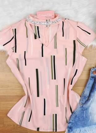 Blusa com pedraria na gola rosa bs105
