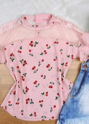 Blusa pedraria detalhe tule rosa bs148