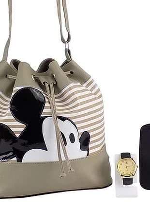 Kit bolsa saco da minnie + relógio + carteira