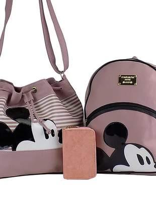 Kit bolsa saco + mochila da minnie + carteira casual