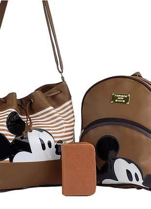 Kit bolsa saco + mochila da minnie + carteira