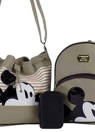 Kit bolsa + mochila da minnie + carteira