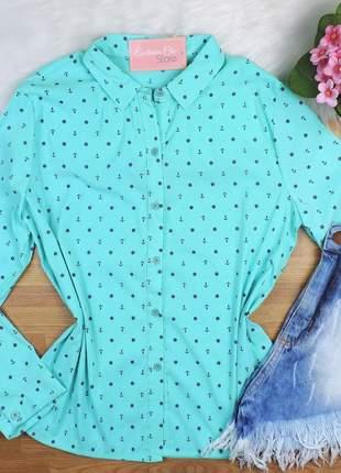 Camisa estampa âncora manga longa azul turquesa cs22