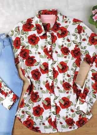 Camisa floral manga longa branca cs03