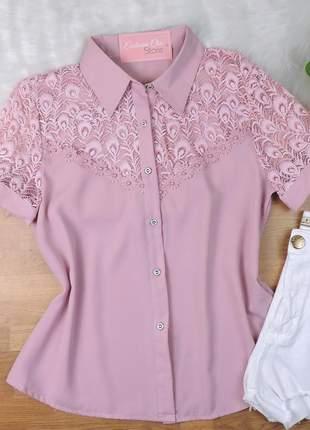 Camisa renda manga curta rosa cs36