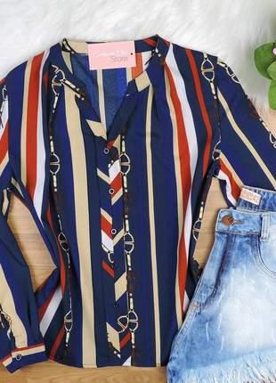 Camisa social listrada manga longa azul