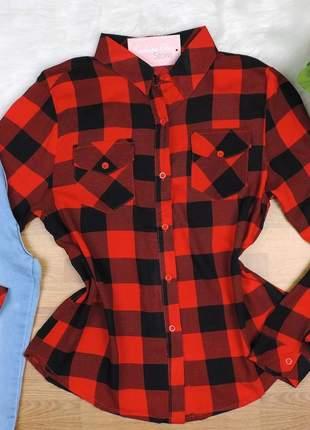 Camisa xadrez manga longa vermelha cs33