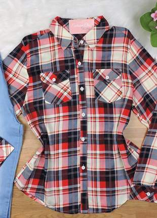 Camisa xadrez manga longa branca/vermelha cs21