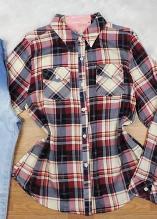 Camisa xadrez manga longa branca/vinho cs10