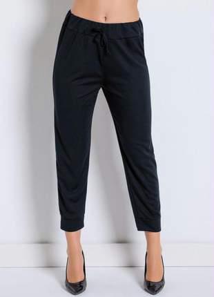 Calça jogger preta com cintura média