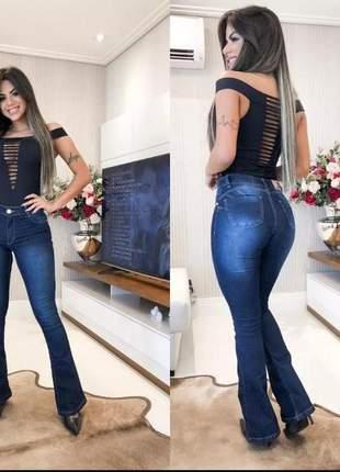 Calça jeans flare cós alto
