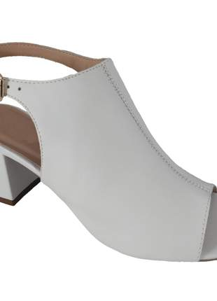 Sandália salto bloco topgrife couro branco