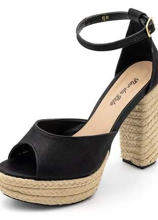 Sandália meia pata salto alto em nobucado preto com detalhes em sisal