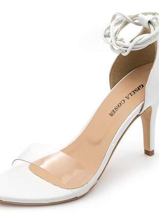 Sandália social feminina branca com tira transparente salto fino