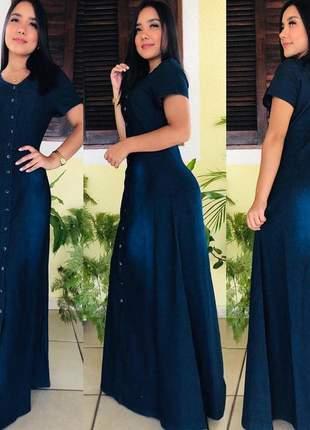 Vestido longo jeans feminino manga curta botão