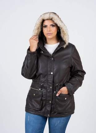 Casaco parca jaqueta de couro plus size com capuz pelo