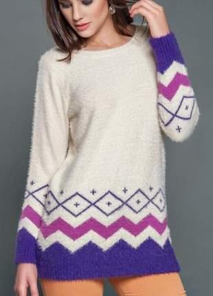Blusa trico feminino maxi pool desenhos asteca iozi