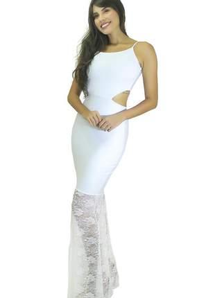 Vestido longo alcinha com detalhe na cintura e renda